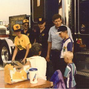 Greeting customer in 1993.