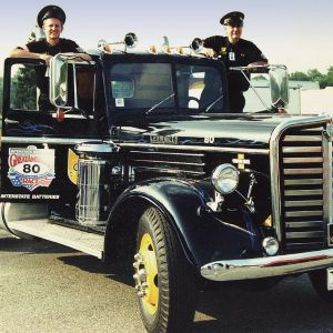 Tom Stanford and Bill Moon ready to participate in the Great Race Road Rally in the 1990's.